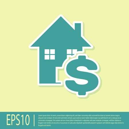 Green House with dollar symbol icon isolated on yellow background. Home and money. Real estate concept. Vector Illustration
