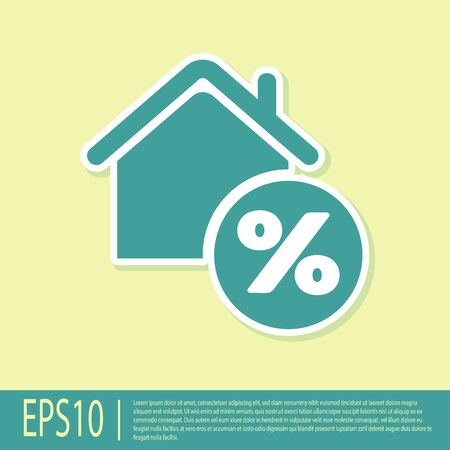 Green House with percent discount tag icon isolated on yellow background. House percentage sign price. Real estate home. Credit percentage symbol. Vector Illustration