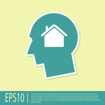 Green Man dreaming about buying a new house icon isolated on yellow background. Vector Illustration