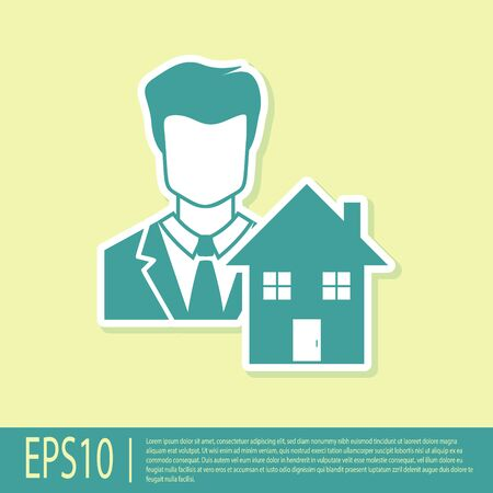 Green Realtor icon isolated on yellow background. Buying house. Vector Illustration