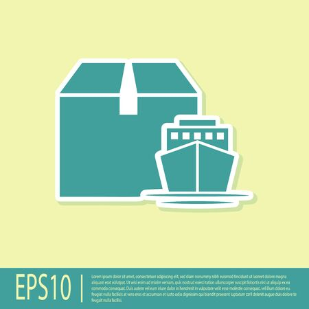 Green Cargo ship with boxes delivery service icon isolated on yellow background. Delivery, transportation. Freighter with parcels, boxes, goods. Vector Illustration Ilustração