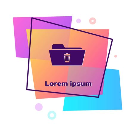 Purple Delete folder icon isolated on white background. Folder with recycle bin. Delete or error folder. Close computer information folder sign. Color rectangle button. Vector Illustration