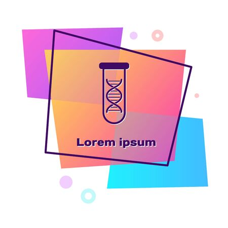 Purple DNA research, search icon isolated on white background. Genetic engineering, genetics testing, cloning, paternity testing. Color rectangle button. Vector Illustration
