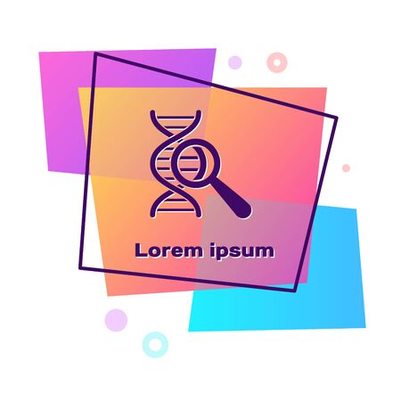 Purple DNA research, search icon isolated on white background. Magnifying glass and dna chain. Genetic engineering, cloning, paternity testing. Color rectangle button. Vector Illustration Ilustração