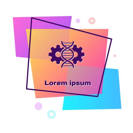 Purple Gene editing icon isolated on white background. Genetic engineering. DNA researching, research. Color rectangle button. Vector Illustration