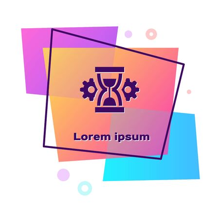 Purple Hourglass and gear icon isolated on white background. Time Management symbol. Clock and gear icon. Productivity symbol. Color rectangle button. Vector Illustration