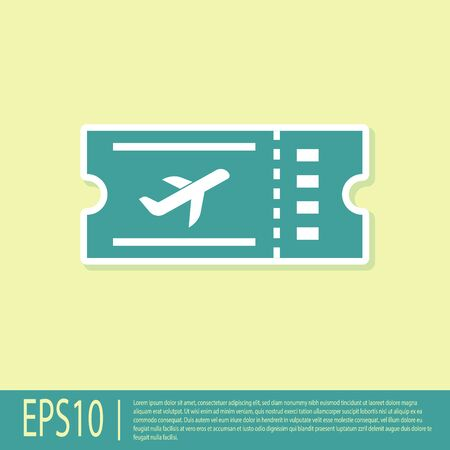 Green Airline ticket icon isolated on yellow background. Plane ticket. Vector Illustration