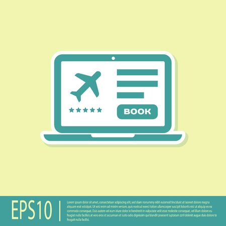 Green Laptop with electronic boarding pass airline ticket icon isolated on yellow background. Passenger plane mobile ticket for web and app. Vector Illustration