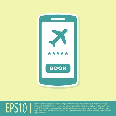 Green Smartphone with electronic boarding pass airline ticket icon isolated on yellow background. Passenger plane mobile ticket for web and app. Vector Illustration