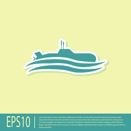 Green Submarine icon isolated on yellow background. Military ship. Vector Illustration