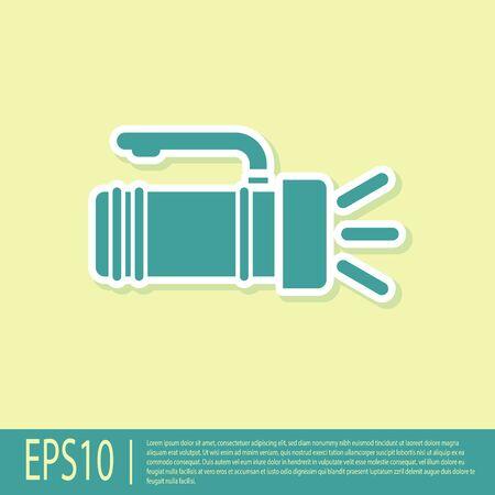Green Flashlight icon isolated on yellow background. Tourist flashlight handle. Vector Illustration Vettoriali