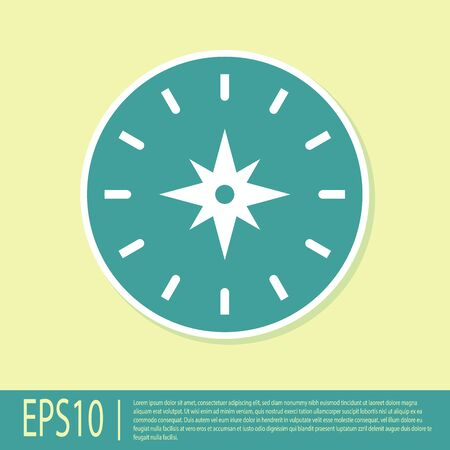 Green Compass icon isolated on yellow background. Windrose navigation symbol. Wind rose sign. Vector Illustration