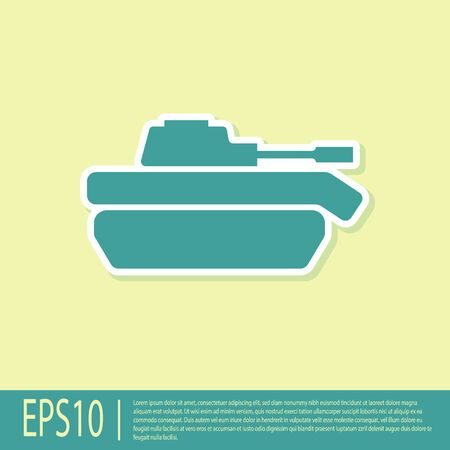 Green Military tank icon isolated on yellow background. Vector Illustration