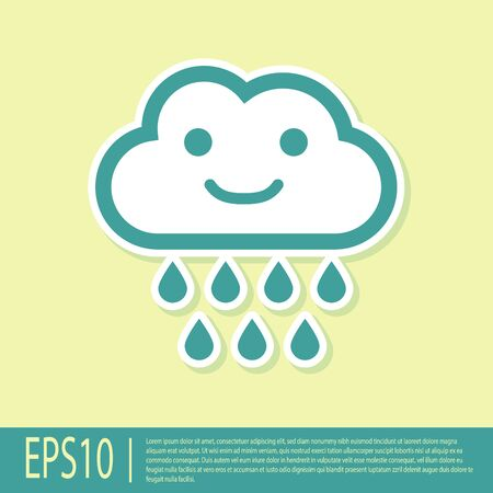Green Cloud with rain icon isolated on yellow background. Rain cloud precipitation with rain drops. Vector Illustration