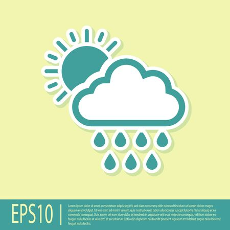 Green Cloud with rain and sun icon isolated on yellow background. Rain cloud precipitation with rain drops. Vector Illustration