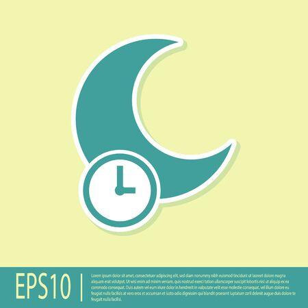 Green Sleeping moon icon isolated on yellow background. Vector Illustration