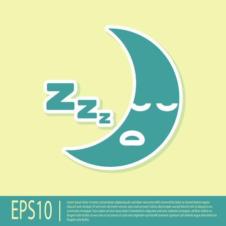 Green Moon icon isolated on yellow background. Cloudy night sign. Sleep dreams symbol. Night or bed time sign. Vector Illustration