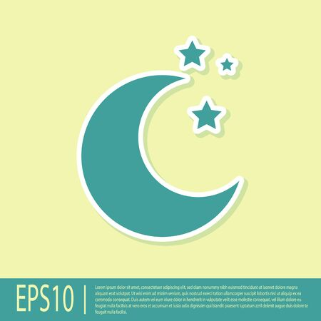 Green Moon and stars icon isolated on yellow background. Vector Illustration