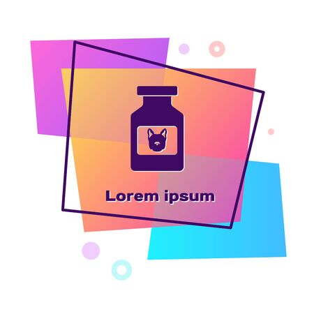 Purple Dog medicine bottle icon isolated on white background. Container with pills. Prescription medicine for animal. Color rectangle button. Vector Illustration