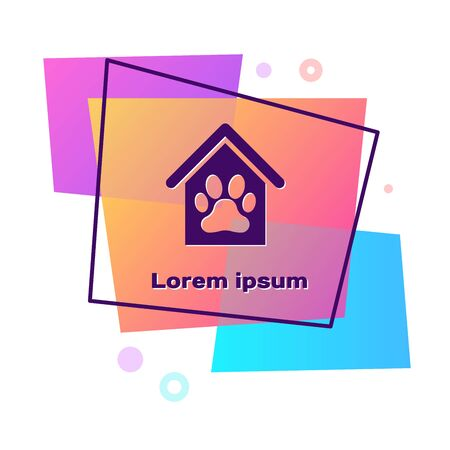 Purple Dog house and paw print pet icon isolated on white background. Dog kennel. Color rectangle button. Vector Illustration