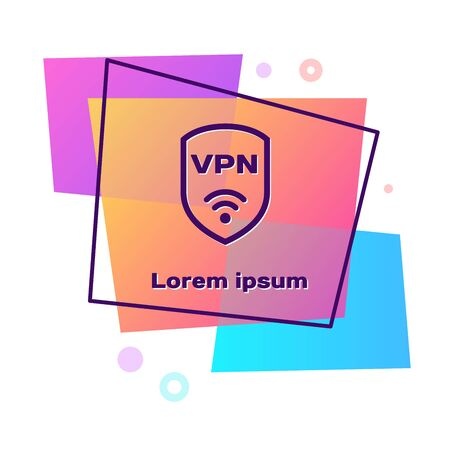 Purple Shield with VPN and wifi wireless internet network symbol icon isolated on white background. VPN protect safety concept. Color rectangle button. Vector Illustration