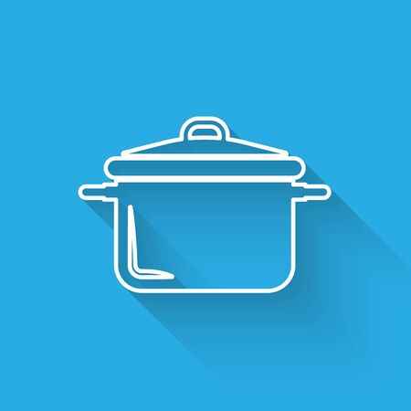 White line Cooking pot icon isolated with long shadow. Boil or stew food symbol. Vector Illustration