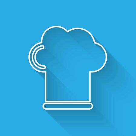 White line Chef hat icon isolated with long shadow. Cooking symbol. Cooks hat. Vector Illustration