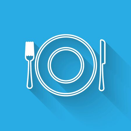 White line Plate, fork and knife icon isolated with long shadow. Cutlery symbol. Restaurant sign. Vector Illustration