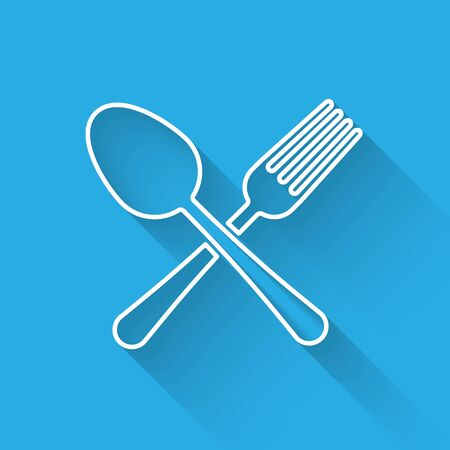 White line Crossed fork and spoon icon isolated with long shadow. Cooking utensil. Cutlery sign. Vector Illustration Çizim