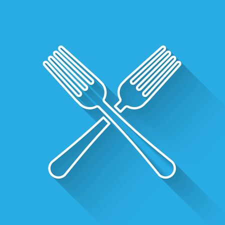 White line Crossed fork icon isolated with long shadow. Cutlery symbol. Vector Illustration
