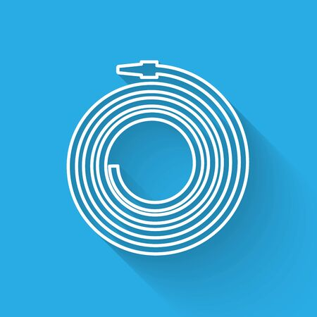 White line Garden hose or fire hose icon isolated with long shadow. Spray gun icon. Watering equipment. Vector Illustration