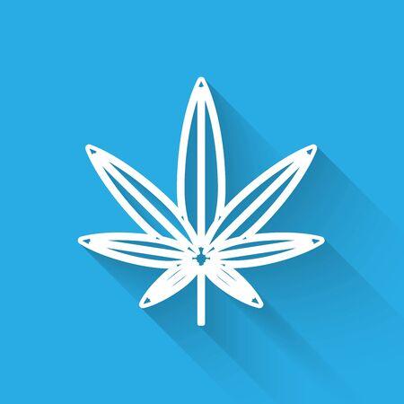 White line Medical marijuana or cannabis leaf icon isolated with long shadow. Hemp symbol. Vector Illustration