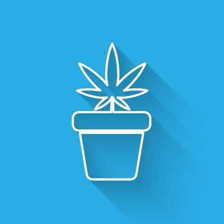 White line Medical marijuana or cannabis plant in pot icon isolated with long shadow. Marijuana growing concept. Hemp potted plant. Vector Illustration Ilustracja