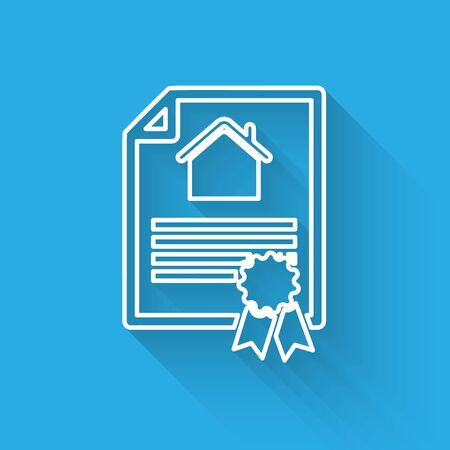 White line House contract icon isolated with long shadow. Contract creation service, document formation, application form composition. Vector Illustration Ilustração