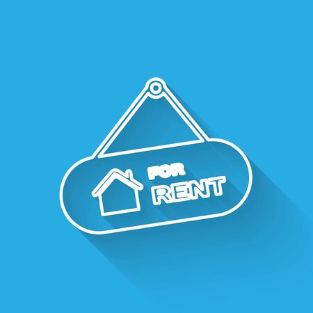 White line Hanging sign with text For Rent icon isolated with long shadow. Signboard with text For Rent. Vector Illustration