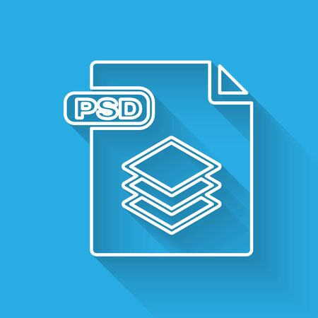 White line PSD file document. Download psd button icon isolated with long shadow. PSD file symbol. Vector Illustration