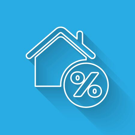 White line House with percant discount tag icon isolated with long shadow. House percentage sign price. Real estate home. Credit percentage symbol. Vector Illustration