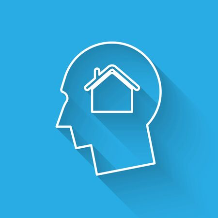 White line Man dreaming about buying a new house icon isolated with long shadow. Vector Illustration