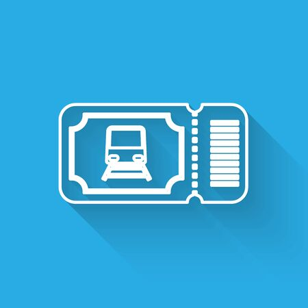 White line Train ticket icon isolated with long shadow. Travel by railway. Vector Illustration