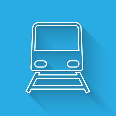 White line Train icon isolated with long shadow. Public transportation symbol. Subway train transport. Metro underground. Vector Illustration Foto de archivo - 129315513