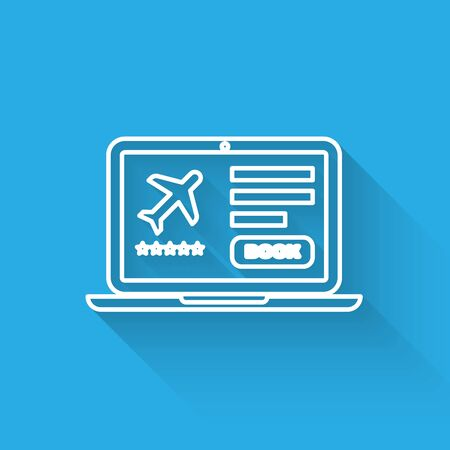 White line Laptop with electronic boarding pass airline ticket icon isolated with long shadow. Passenger plane mobile ticket for web and app. Vector Illustration