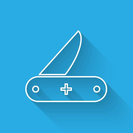 White line Swiss army knife icon isolated with long shadow. Multi-tool, multipurpose penknife. Multi functional tool. Vector Illustration