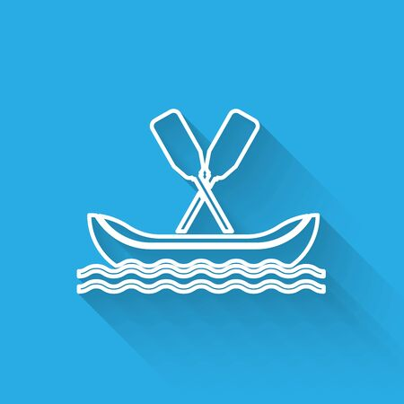 White line Rafting boat icon isolated with long shadow. Kayak with paddles. Water sports, extreme sports, holiday, vacation, team building. Vector Illustration