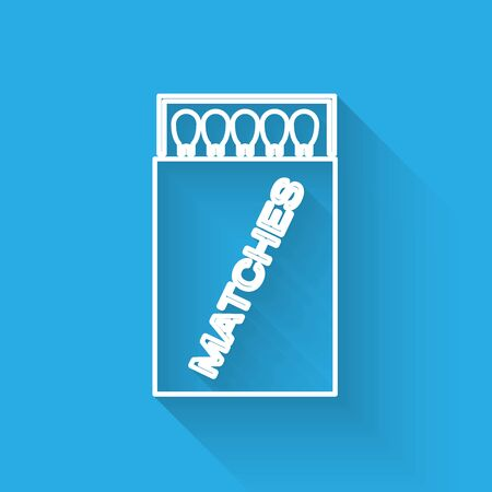 White line Open matchbox and matches icon isolated with long shadow. Vector Illustration Ilustração