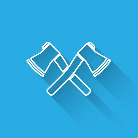White line Crossed wooden axe icon isolated with long shadow. Lumberjack axe. Vector Illustration Stock Illustratie