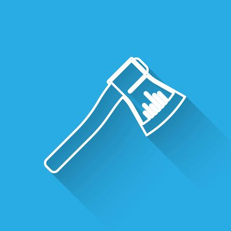White line Wooden axe icon isolated with long shadow. Lumberjack axe. Vector Illustration