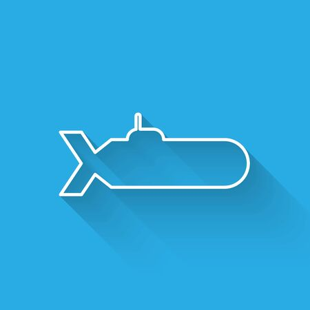 White line Submarine icon isolated with long shadow. Military ship. Vector Illustration