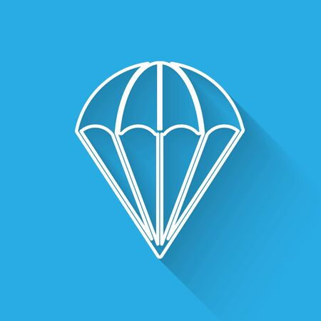 White line Parachute icon isolated with long shadow. Vector Illustration Ilustrace