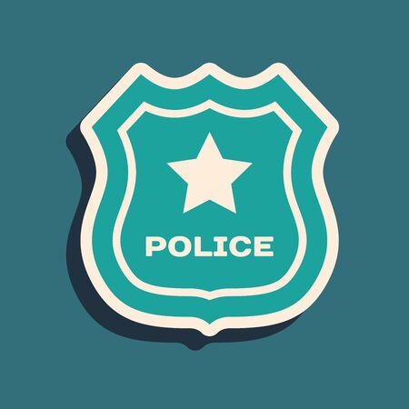 Green Police badge icon isolated on blue background. Sheriff badge sign. Long shadow style. Vector Illustration Ilustrace