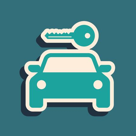 Green Car rental icon isolated on blue background. Rent a car sign. Key with car. Concept for automobile repair service, spare parts store. Long shadow style. Vector Illustration